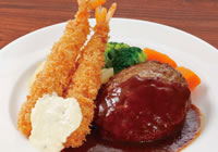 Hamburger steak & deep-fried prawn ¥1,500